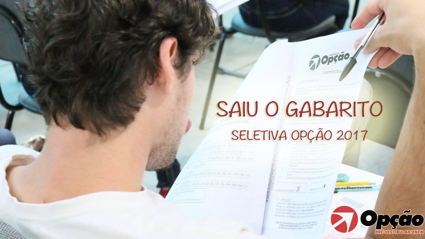 Gabarito Seletiva Opção 2017