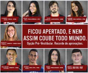 CURSO OPÇÃO PRÉ-VESTIBULAR/ENEM. RECORDE DE APROVAÇÕES EM 2019